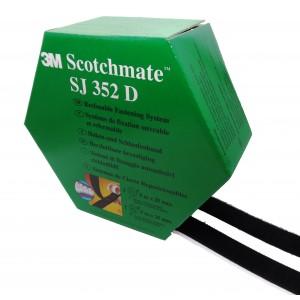 3M™ Système d'Union Démontable SJ352D, (SJ3526 + SJ3527) Velcro Avec Adhésif, Noir –  Boîte de 2 Bandes de 5m x 25mm