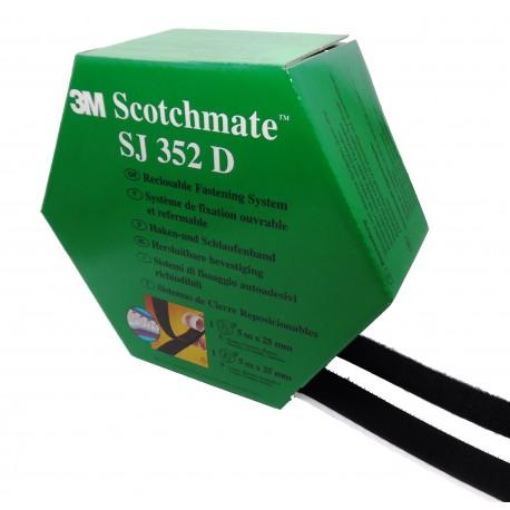 3M™ Sistemas de Unión Desmontable SJ352D, (SJ3526 + SJ3527) Velcro Con Adhesivo, Negro - Caja De 2 Tiras De 25mm x (5m + 5m)