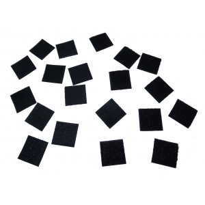 Quadrados Cortados De Velcro Adesivo, Preto