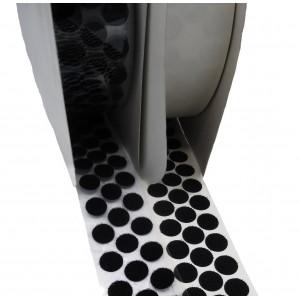 Círculos Troquelados De Velcro Adhesivo, 16mm Diámetro, Negro