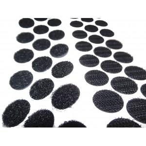 Círculos Cortados De Velcro Adesivo, 16mm Diâmetro, Preto