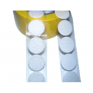 Círculos Troquelados De Velcro Adhesivo, 21mm Diámetro, Blanco - Rollo de 2.100 Unidades