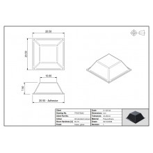 Tope Adhesivo PUR Cuadrado 5022 Transparente 20,5mm lado x 7,5mm alt.