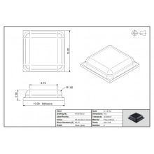 Tope Adhesivo PUR Cuadrado 0012 Transparente 10mm lado x 2,5mm alt.