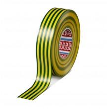 TESA® Cinta Aislante Homologada TESAFLEX 53948 Amarillo/Verde – Rollo de 10m x 19mm