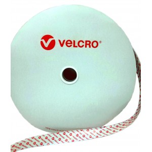 """Fita De VELCRO® Original Com Adesivo """"PS14"""" Hook Branco - Rolo De 25m x 20mm"""