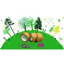 Selo Adesivo De Embalagem em Papel Kraft Ecológico Cor Marrom  - Rolo De 50m X 50mm