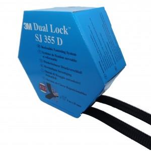 3M™ Dual Lock système d'Union Amovible SJ355D Noir – Boîte de 2 Bandes de 5m x 25mm