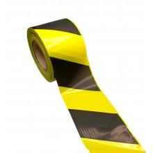 Cinta de Balizamiento de PE, Estándar, Amarillo/Negro, Galga 200  – Rollo de 250m x 100mm