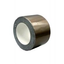 Cinta Adhesiva De Butilo Con Aluminio, Color Negro-Gris Plomo – Rollo De 10m X 75mm X 0,6mm